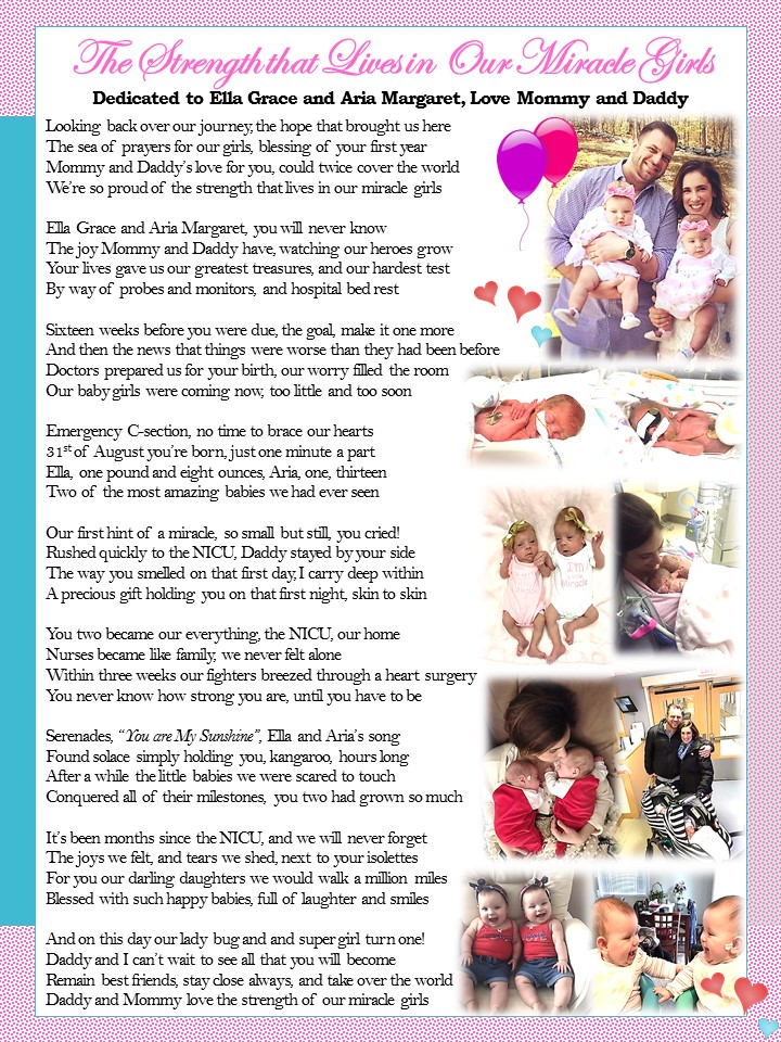 The Strength of Our Miracle Girls, for Aria and Ella